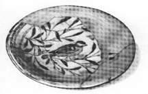 Глиняное расписное блюдо с глазурью.Самарканд.XV в. н.э.